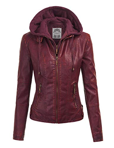 Lock and Love LL WJC1044 Womens Faux Leather Quilted Motorcycle Jacket with Hoodie XS Wine