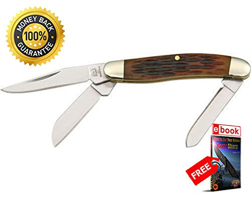 Rough Rider Folding Utility Knife 814 Folding Knife Tiny Stockman Jigged Amber Bone Handle 2'' razor sharp knife strong carbon blade survival camping hunting EDC military knife eBOOK by MOON KNIVES