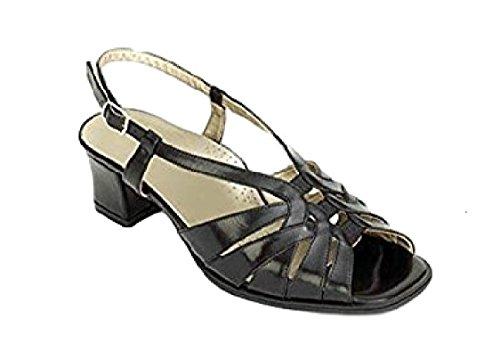 Bella Black Da Leather 4E Sandals Wide 'Lady' Ladies Fitting 6pwq5q7