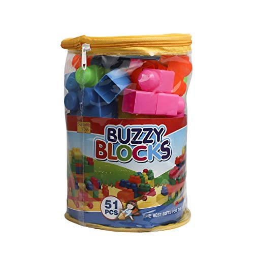 Lodestone Multi Colored Play and Learn Building Blocks for Kids – 51 Pieces Best Gift Toy, Multicolor, Along with A Carry Bag, Made in India