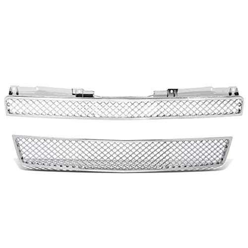 For Chevy Tahoe/Avalanche/Suburban ABS Plastic Glossy 2-Piece Diamond Mesh Front Bumper Grille (Chrome)