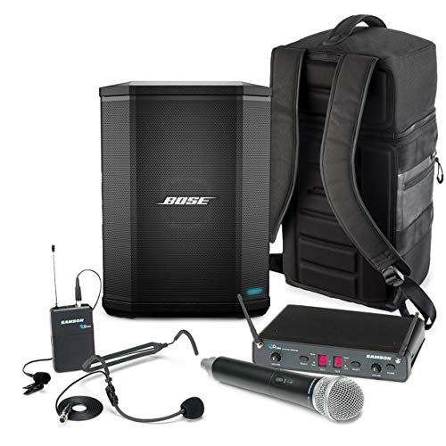 Bose S1 Pro Multi-Position Bluetooth Speaker Bundle with Samson Concert 288 All-In-One Wireless Microphone System and Padded Backpack - Ultra-Portable PA Sound System On-the-Go (3 Items)