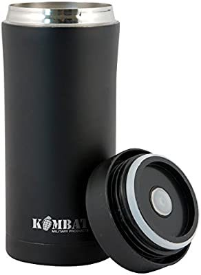 KOMBAT BLACK SCREW TOP AMMO POUCH STAINLESS  THERMAL FLASK Cadets ARMY CAMPING
