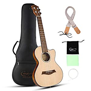 Hricane Cutaway Tenor Ukulele 27 Inch Extra Slim Light Spruce Top Travel Ukulele for Beginner with Gig Bag Strap Strings…