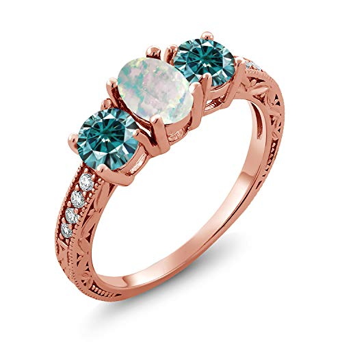 18K Rose Gold Plated Silver 3-Stone Ring Oval/Cabochon White Simulated Opal and Vivid Blue Created Moissanite 1.00ct (DEW) (Size 7)
