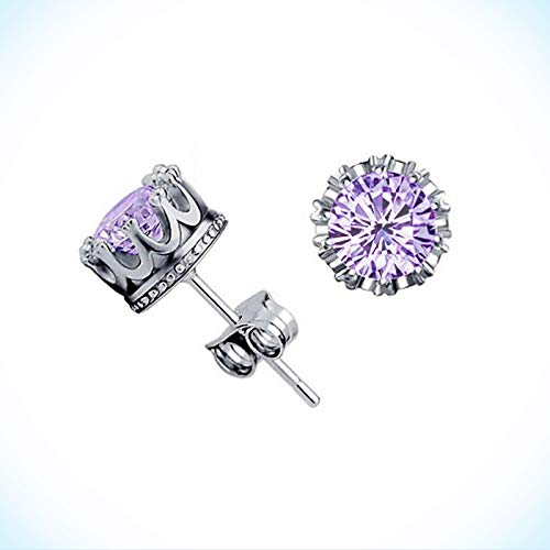 New White Gold Silver Plated Round Crown Set Amethyst Purple CZ Stud Earrings for Women Lady
