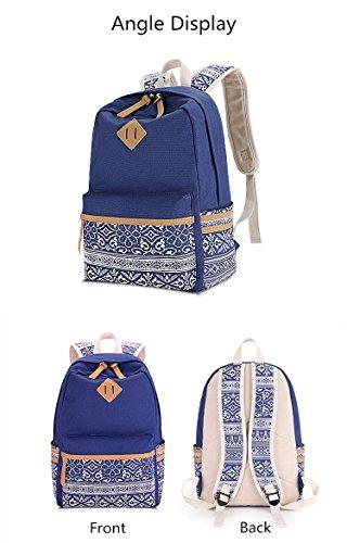 Amazon.com: Winerbag Brand Canvas Printing Large Capacity Laptop Backpack Women School Bags For Teenage Girls National Rucksack Female Black: Sports & ...