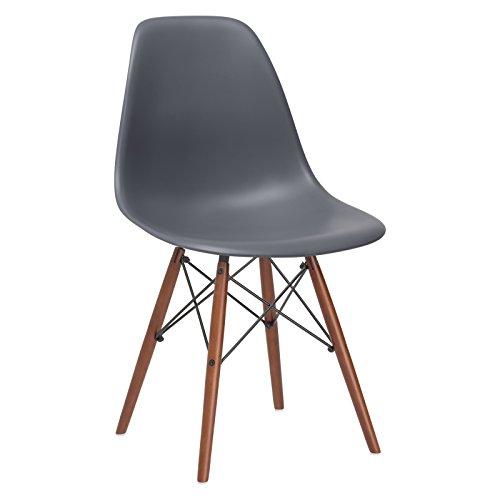 - Poly and Bark Vortex Side Chair Walnut Legs, Grey
