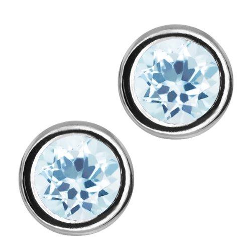 1.50 Ct Round Sky Blue Aquamarine Sterling Silver bezel - Earrings - Stud Bezel Aquamarine Earrings
