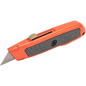 HDX 377 784 x3 Retractable Utility Knife with Rubber Handle and 3 Position Locking Blade, Metal