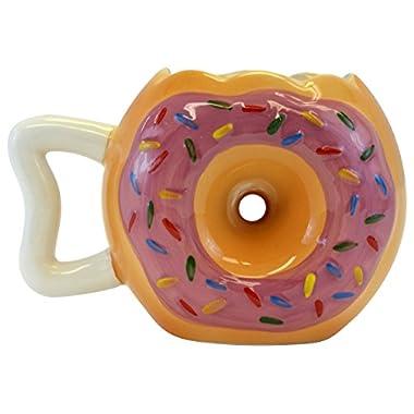 Fairly Odd Novelties Donut Shape Novelty Doughnut Coffee Mug, Brown