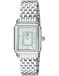 MICHELE Womens Deco Head Swiss Quartz Stainless Steel Casual Watch, Color:Silver-Toned (Model: MWW06I000026)