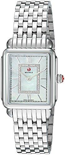 MICHELE Women's Deco Watch Head Swiss-Quartz Stainless-Steel Strap, Silver, 11 (Model: MWW06I000026)