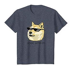 Kids Shiba Inu T-Shirt Meme Doge Deal With It Pixel Glasses Tee 8 Heather Blue