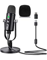USB Condenser Microphone Compatible with PC/MAC/Ps4/Android, Computer Mic with Noise Cancelling & Reverb & Plug & Play, Studio Microphone for Voice and Music Recording, Podcasting, Streaming, Gaming