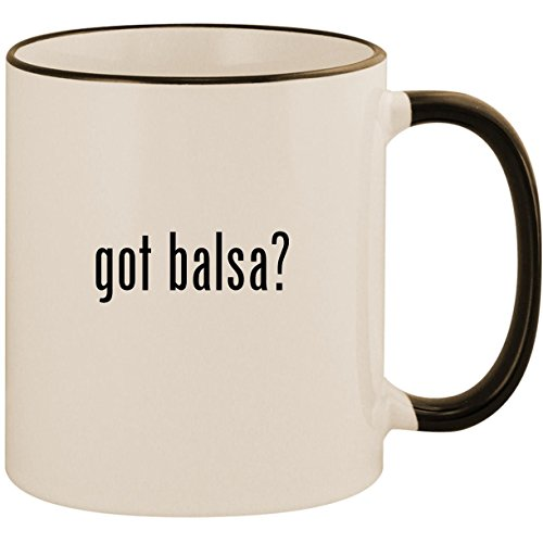 Lite Rim Strip - got balsa? - 11oz Ceramic Colored Handle & Rim Coffee Mug Cup, Black
