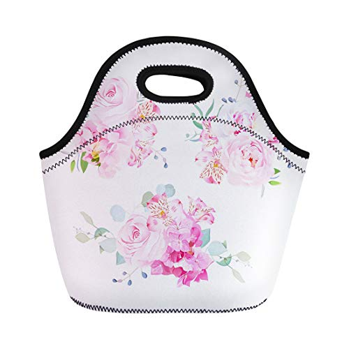 (Semtomn Lunch Bags Gentle Mix of Pink Bouquets Rose Alstroemeria Lily White Neoprene Lunch Bag Lunchbox Tote Bag Portable Picnic Bag Cooler)