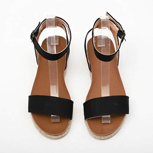 Bout Chaussures Imprimé Womens Bas D'été forme Noir Ouvert Décontractées À Léopard Plates Mode Fangxiang Plate Boucle Coins Sandale Talons q8wXxOO4H
