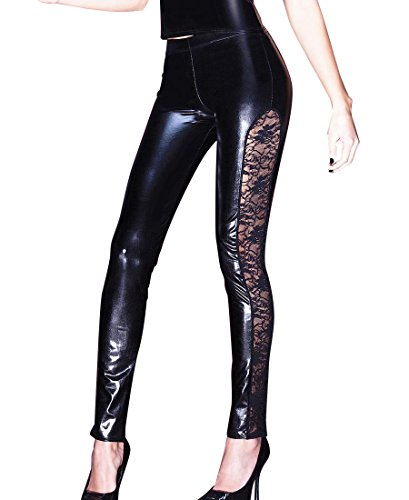 Coquette D9255 Women's Wet Look and Lace Tights Leggings - Large - Black