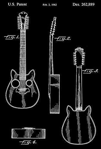 1982 - Guitar - B. Pondunavac - Patent Art Poster