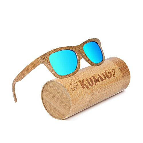 Kuang Mens Womens Bamboo Wood Sunglasses Floating Wayfarer Polarized Classic Eyewear with Gift - Tell To Your Sunglasses How Polarized If Are