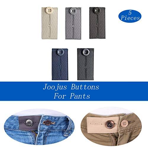 Fabric Extender - Joojus Fabric Waist Button Extenders Waistband Expanders for Pants Jeans Dress Slacks Trousers Khakis Short Men and Women,5-Pack