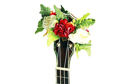 - ukuhappy Ukulele Ribbon Leis Hawaiian Crafts Ukulele Accessories Hibiscus white red
