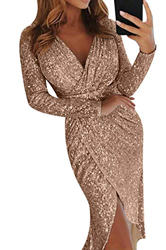 (Bai You Mei Women's Sexy V Neck Long Sleeve Wrap Ruched Irregular Sequin Party Midi Dress Gold S)