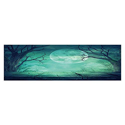 Dragonhome Decorative Aquarium Background Halloween Background Spooky Forest with Full Moon and Wooden Table Decal Sticker Home Decor Art L23.6 x H15.7 ()