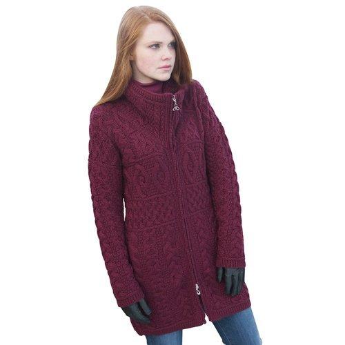 100% Irish Merino Wool Double Collar Aran Knit Coat, Wine, Medium
