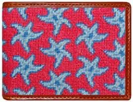 Smathers & Branson Starfish Pattern Bifold Needlepoint Wallet (W-98)