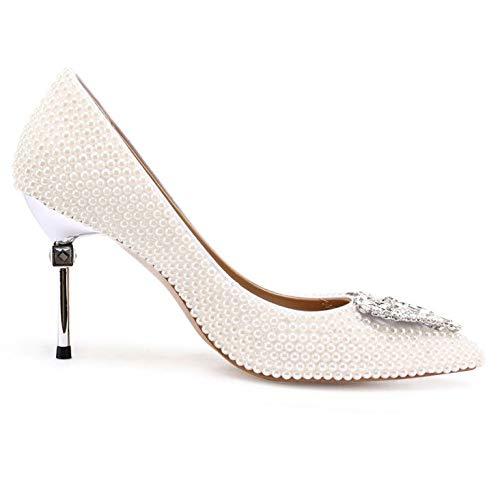 High Heels Abendgesellschaft Frauen Silber Diamond Heart Abschlussball Braut Hochzeit Stiletto Shaped Hochzeit Elegante Spitz Schuhe Pearl PSFCw7qxP