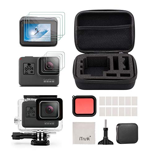 iTrunk Accessories kit Compatible for GoPro Hero 7 Black Hero 5 Hero 6 Hero Waterproof Housing Case Screen Protector Film and Red Filter for GoPro Hero7 Hero6 Hero5 Black Action Camera
