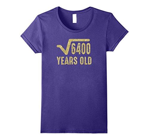 Womens Square Root of 4600 Shirt / 80th Birthday T Shirt (Gold) Medium Purple -