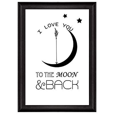 Wonderful Artistry, Quality Creation, Quote with Stars and The Moon I Love You to The Moon and Back Framed Art