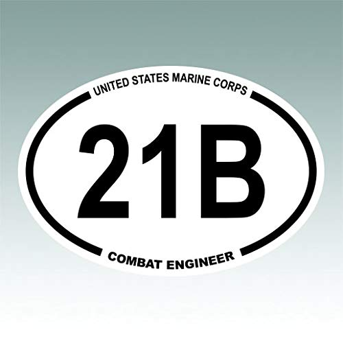RDW United States Marine Corps MOS 21B Combat Engineer Oval Sticker Premium Decal Die Cut USMC Semper fi ()