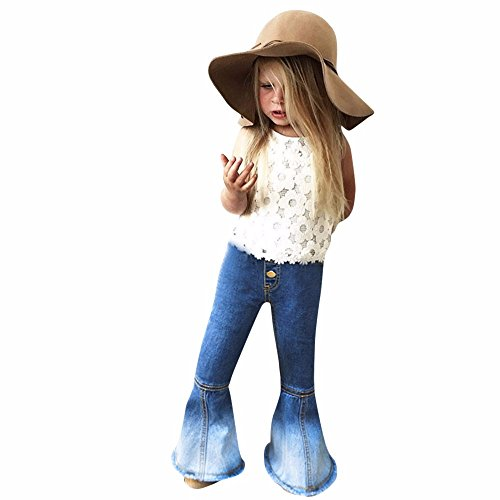 2 Clothes Piece Western (Baby Toddler Girls Jeans Pants for 2-6 Years Old,Fashion Kids Vintage Splice Bell-Bottoms Denim Pants Trousers (5-6 Years Old, Dark Blue))
