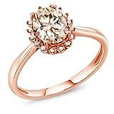 Gem Stone King 1.00 Ct Oval Peach Morganite 10K Rose Gold Ring (Size 7)