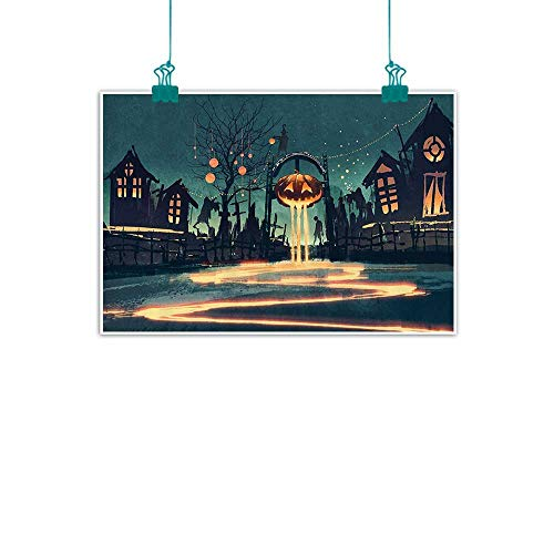 Fantasy Art House Decor Art Oil Paintings Halloween Theme Night Pumpkin and Haunted House Ghost Town Artful Canvas Prints for Home Decorations 24