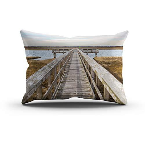 Sgvsdg Throw Pillow Cover Wooden Pier Long Island New York Rectangle Hidden Zipper Home Sofa Living Room Cushion Decorative Pillowcase 12 x 24 -