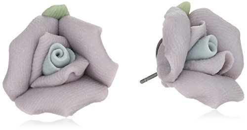 Green Enamel Rose - 1928 Jewelry Classic Lavender Purple Porcelain Rose Post Stud Earrings