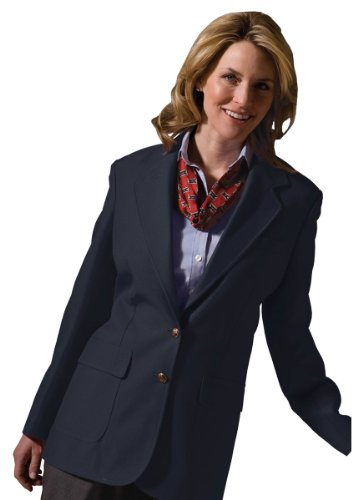 Ed Garments Women's Two Button Single Breasted Blazer, Dark Navy, 28