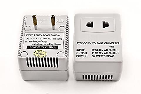 Simran SM-250R Step Down Voltage Converter 50 Watts for Internatonal Travel to 220 Volt Countries with Fuse - Fluorescent Step Light