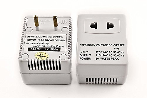 Simran SM-250R Step Down Voltage Converter 50 Watts for Internatonal Travel to 220 Volt Countries with Fuse Protection (Euro Plug Converter)