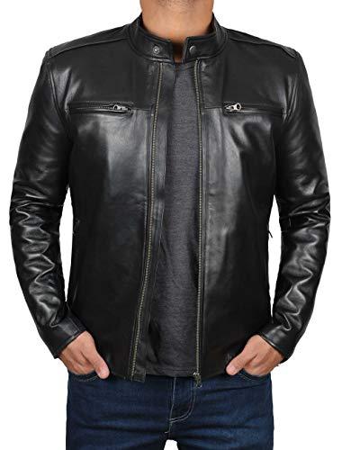 Decrum Black Leather Biker Jacket Men | [1100445] Clinton, XL