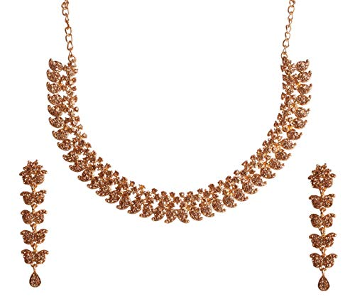 Touchstone New Indian Bllywood Traditional Paisley Inspired Faux Yellow Citrine Rhinestone Studded Look Pretty Designer Jewelry Necklace Set in Antique Gold Tone for Women.