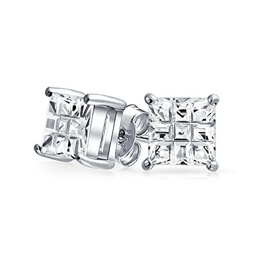 Princess Solitaire Pierced Earrings - CZ Invisible Checkerboard Square Cut Unisex Stud Earrings in 925 Silver (10mm)