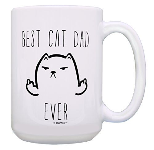 Funny Cat Mug Best Cat Dad Ever Cat Gag Gifts Gift 15oz Coffee Mug Deal (Large Image)