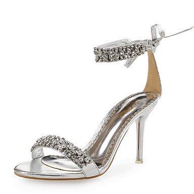 LvYuan Mujer-Tacón Stiletto-Zapatos del club-Sandalias-Boda Vestido Fiesta y Noche-Cuero Purpurina-Negro Plata Oro Silver