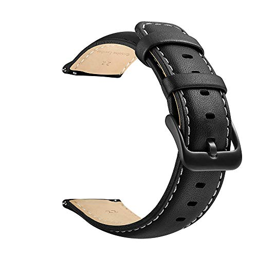 22mm Watch Strap, LEUNGLIK Quick Release Leather Watch Strap Replacement Bands with Black/Brown/Gray Stainless Pins Clasp - Buckle Leather Band